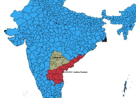 Location of Telangana and Andhra Pradesh in India