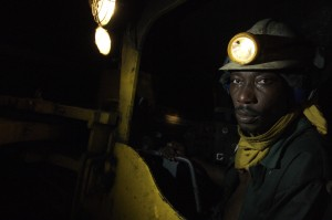Workers in the Anglo Ashanti gold mine at a depth of about 330m in Obuasi, Ghana, June 23, 2006. (Photo by Jonathan Ernst)