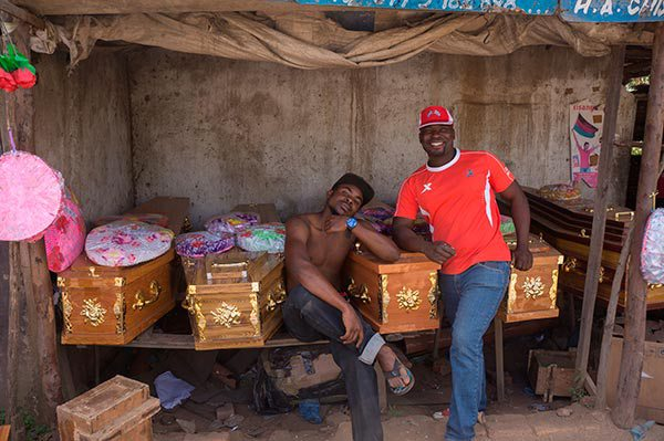 Coffin makers take a break from work in Ndirande