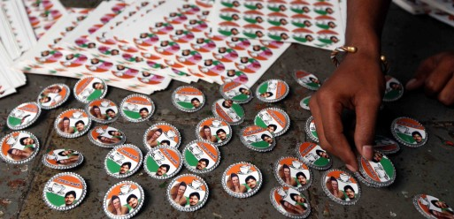 Workers are busy in preparing the political party badges in the western Indian City of Mumbai on 10th March 2009.This is very popular among the political parties.
