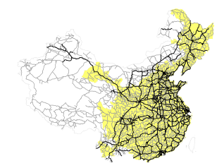 China's road and express highway networks in 2010
